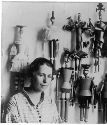 Sophie Taeuber with her puppets, Zurich 1918 -by Ernst Linck