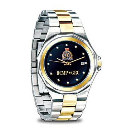 """$178.99 Finely handcrafted of stainless steel, the Two-Toned Traditional Watch boasts the current RCMP crest just above the luminous 24K gold acronyms RCMP/GRC. Additional 24K-gold accents grace the watch case, band, crest, hands and hour markers. Featuring precision quartz movement, adjustable """"C-clasp,"""" and water resistance to a depth of 3 ATMs, the Two-Toned Traditional Watch makes for an impressive tribute to our national police force."""