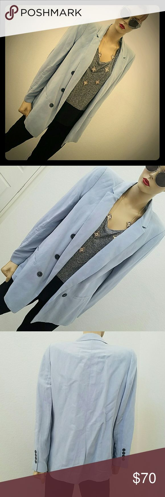 ZARA Light blue blazer Has decorative buttons on the front but are not functional.  Shoulders are lightly padded. Very light fabric.  Has white lining. Never worn tags are still on. Jackets & Coats Blazers