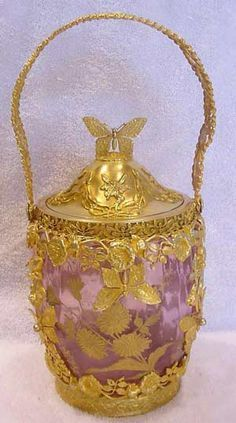 French Cranberry Glass Biscuit Jar with Gilded Bronze Dore Art Nouveau Butterflies, Dragonflies