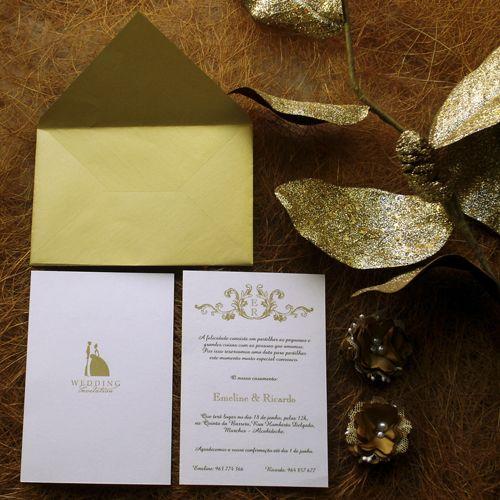 Convite de Casamento clássico, Classic Wedding Invitation, Gold Invitation, Convite de casamento dourado