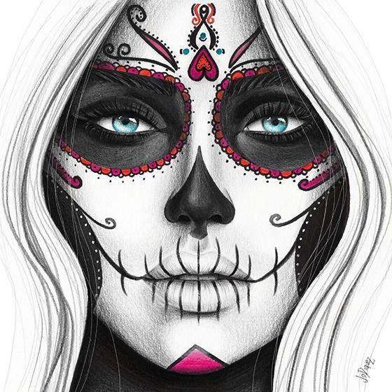 Tag des toten Kunstdruckes von der ursprünglichen Bleistiftillustration. Bleistiftzeichnung des Gesichtes einer Frau. Tag der toten Illustration des …