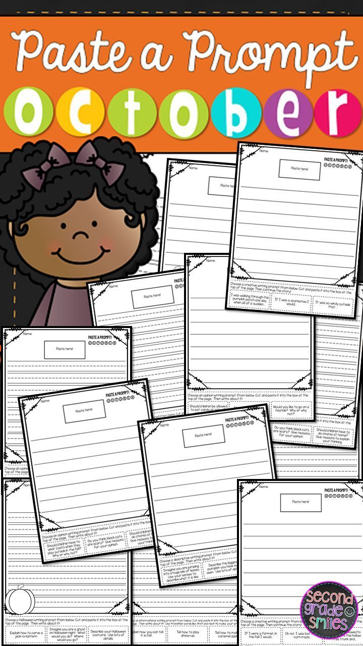 These October writing prompts are fun fall writing centers or activities for 1st, 2nd, and 3rd graders.  Kids cut and paste one of three prompt choices on each page, offering choice while still ensuring that students practice personal narrative, informative/expository, opinion, descriptive, and creative writing.