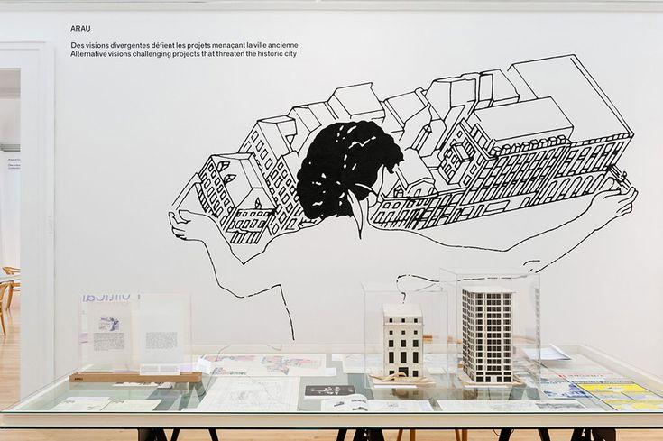 Atelier de recherche et d'action urbaines (ARAU) è stato fondato nel 1969 dal sociologo René Schoonbrodt, dal parroco Jacques Van Der Briest e dall'architetto Maurice Culot con l'obiettivo di costituire un comitato dei residenti di Bruxelles. Sollecitava la partecipazione della comunità nella pianificazione urbana della città del dopoguerra e la formulazione di controproposte. Allestimento a cura di MOS Architects. © CCA