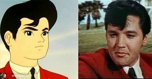 Regrann from @elviseoblues -  Tatsuo Yoshida teve a inspiração para a criação de seu anime e manga Speed Racer (também conhecido como Mach GoGoGo) depois de ver os filmes de Elvis Presley que eram muito populares no Japão na época. O personagem central um jovem motorista de carro de corrida chamado Gō Mifune (Mifune Gō) foi inspirado no visual de Elvis Presley no filme com lenço de pescoço e pompadour preto. Tatsuo Yoshida was inspired to create your anime and manga Speed Racer (also known…