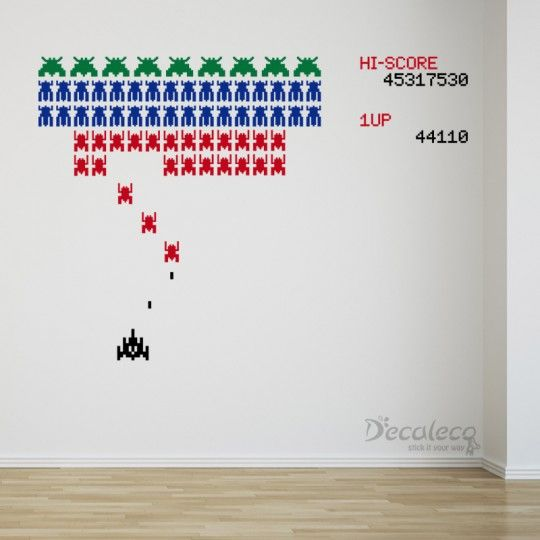 Galaga-like Arcade Game with Space Invaders Wall Decals | Decaleco