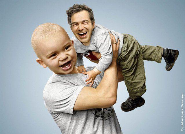 Pictures That Switch The Heads Of Parents And Children Kinda Creepy Gambar Lucu Manipulasi Foto Lucu