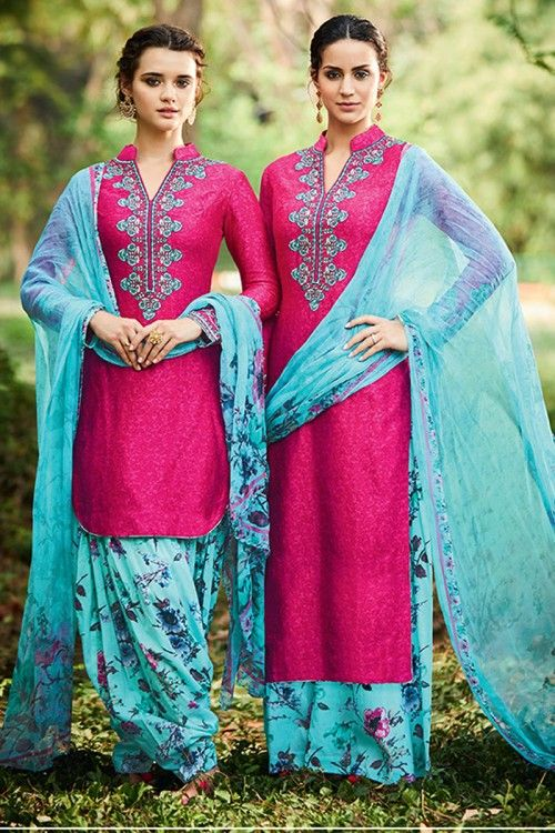 Aqua Blue and Pink Cotton semi stitch patiala salwar kameez & can be customize as trouser suit. Allover embroidered with embroidered and printed work. Chinese collar, Below knee length, full sleeves kameez. Aqua Blue trouser. Aqua Blue chiffon dupatta with Printed work. Product are available in 34,36,38,40 sizes. It is perfect for Festival Wear,Party Wear,Diwali,Eid. Bottom Fabric : Cotton And SatinAndaaz Fashion is the most popular designer wear online ethnic shop brands in BROMLEY, UK.