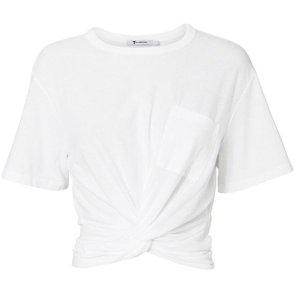 T by Alexander Wang Women's Twist Detail White Tee found on Polyvore featuring tops, t-shirts, shirts, crop top, white, short-sleeve shirt, white cotton shirt, white crop top, cotton t shirts and crop t shirt