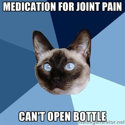 Medication for joint pain, can't open bottle