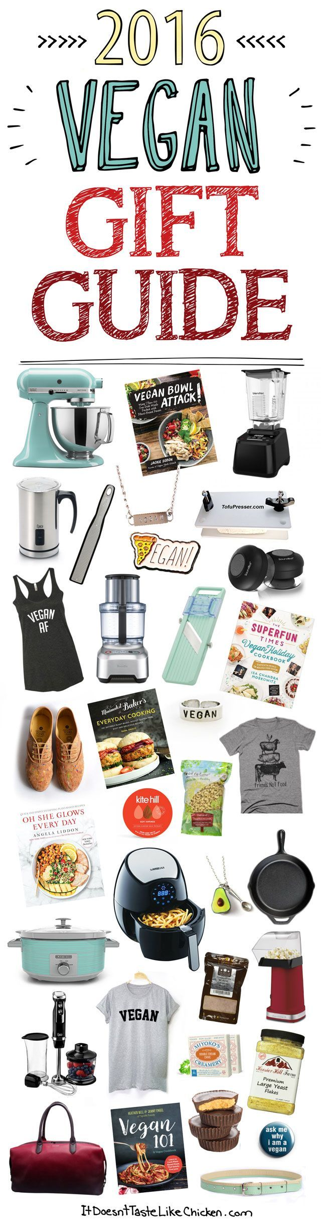 2016 Vegan Gift Guide to make all your holiday shopping easy. Lots of ideas to fit every budget. Just in time for Christmas! #itdoesnttastelikechicken