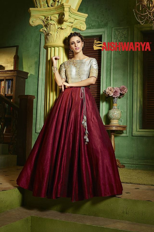 A fresh new collection of splendid #anarkali is now available online and in stores! Buy Suit online - http://www.aishwaryadesignstudio.com/classy-silver-maroon-designer-suit