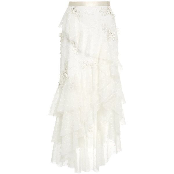 Tulle Embroidered Floral Skirt   Moda Operandi ($3,680) ❤ liked on Polyvore featuring tops, blouses, skirts, embellished skirts, white high waisted skirt, high waisted knee length skirt, high waisted tulle skirt and floral skirts