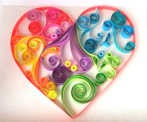 Colorful heart made with quilling technique, on ivory background.  The quilling paper strips for this project are hand cut, 12mm wide, mix of