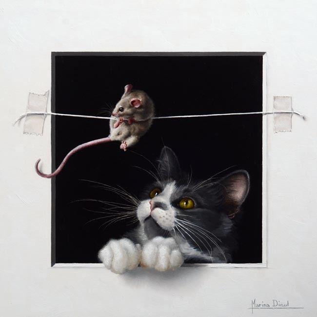 Кошки-мышки.Художник Marina Dieul