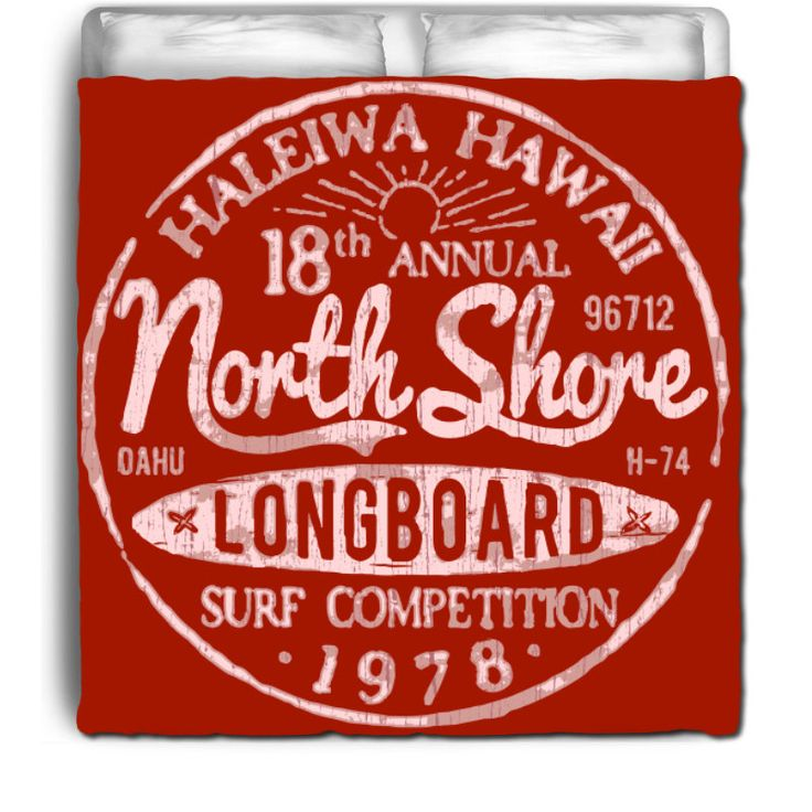 """Extremely Stoked Eco Friendly """" Vintage Hawaii North Shore Surf Competition """" Red Surfer Bedding Beach Comforter by SurferBedding on Etsy"""