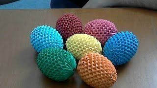 origami 3d - temari ball - how to make - YouTube
