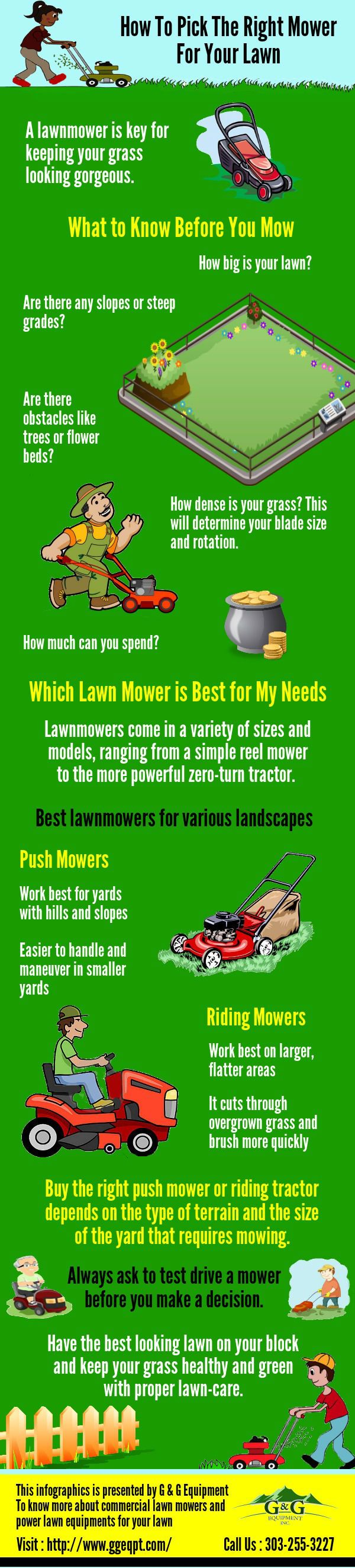 How to Pick the Right Mower for Your Lawn A good collector mower can also be used for collecting autumn leaves or hedge-trimmings from hedges and bushes, and much more. To know more about #commercial #lawn #mowers and power lawn equipments for your lawn from G & G Equipment will get you moving! Visit : http://www.ggeqpt.com/mowers/