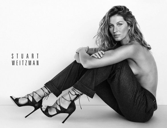 Gisele goes topless for Stuart Weitzman's S/S 15 campaign // Photo by Mario Testino