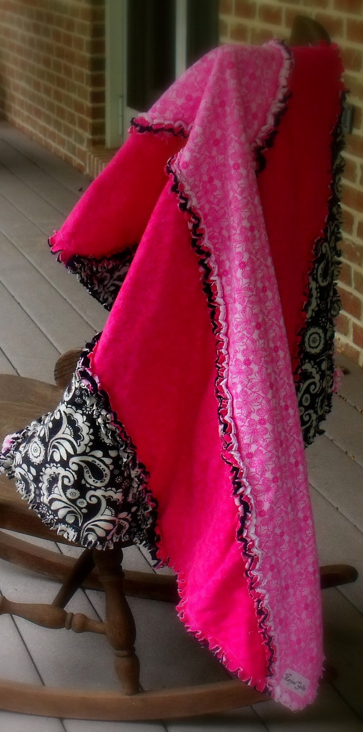 rag quilt, shabby chic quilt, modern striped quilt pink black. $75.00, via Etsy.