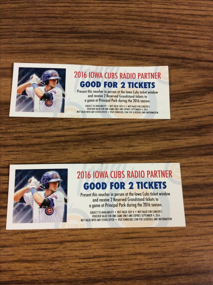 Iowa Cubs tickets..one ticket is good for 2 people games are this weekend or next..first 2 people that come in asking get a ticket