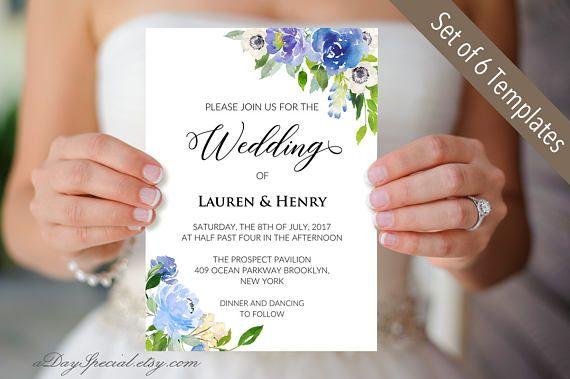 5 Printable Blue Cream Floral Wedding Invitation Cards Etsy Printable Wedding Invitations Floral Wedding Invitation Card Floral Wedding Invitations