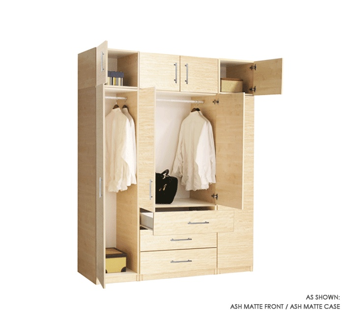 Wardrobe Closet Package With 8 Doors And 3 Drawers In Ash Matte By Contempo  Space