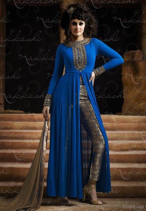 Blooming Blue Designer Indo Western Salwar Suit Blue Colour-3021