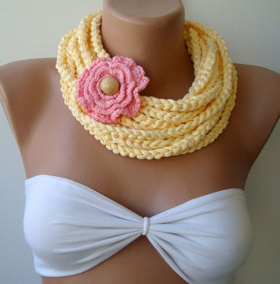 Crocheted chain scarf