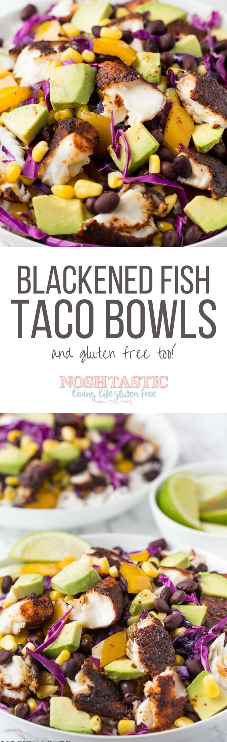 Healthy fresh gluten free Fish Taco Bowls recipe! Cook it in minutes and serve over rice with generous helpings of Avocado, Black Beans and fresh vegetables