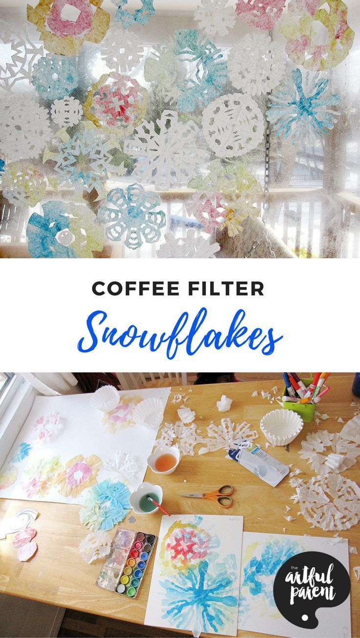 Learn how to make coffee filter snowflakes–the best and easiest way to make snowflakes! Add watercolor paint for a colorful indoor winter wonderland.