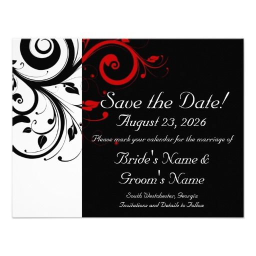 Perfect Black, White, Red Swirl Wedding Save The Date Card
