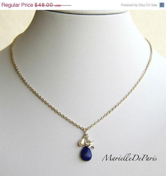 Sale- Lapis Lazuli, Baroque Pearl & Sterling Silver Necklace by MarielleDeParis,  #lapisLazuli #lapisnecklace #LapisJewelry https://www.etsy.com/shop/MarielleDeParis