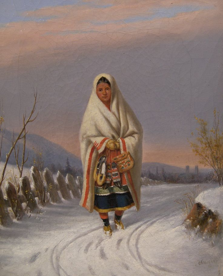 'Moccasin Seller' by Cornelius Krieghoff  Oil on canvas, circa 1860  at Mayberry Fine Art