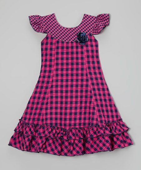Roberto Toscani Pink & Navy Gingham Ruffle Dress - Toddler & Girls | zulily