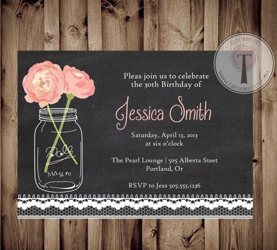 Chalkboard lace birthday invitation, mason jar invitation, elegant, adult birthday, 30th birthday, 40th, 21st birthday, party invitation on Etsy, $12.99