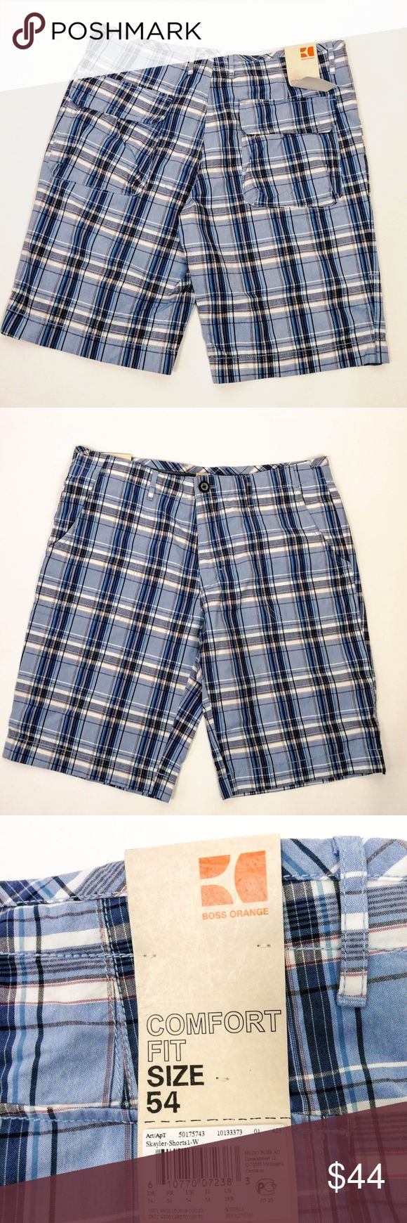 """Hugo Boss Orange Label Mens Shorts Blue Plaid 38 R Boss Orange Mens Shorts NWT  Size  38 R  USA  Blue Plaid Skyler   ( Note sizing on tag  54 EU )  Comfort Fit  Waist - 19.5  ( layed flat) - multilply by 2 for approx. circumference)  Side Length - 23 """" ( center back neck seam to hem)  Button, zip and drawstring waist  New with Tag ( tag loose) Hugo Boss Shorts"""