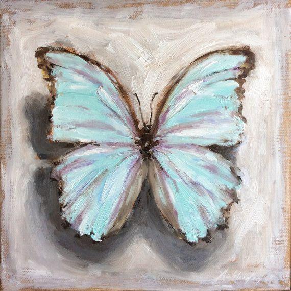 Morpho Godarti Pale Blue Butterfly,  8x8 oil by Michelle Schleider