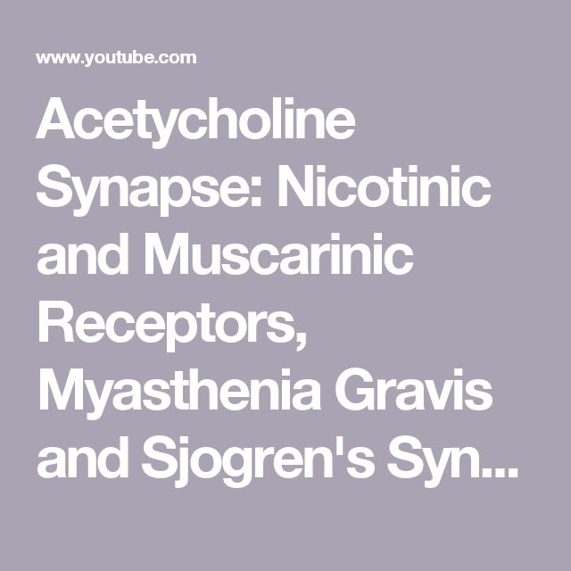 Acetycholine Synapse: Nicotinic and Muscarinic Receptors, Myasthenia Gravis and Sjogren's Syndrome - YouTube