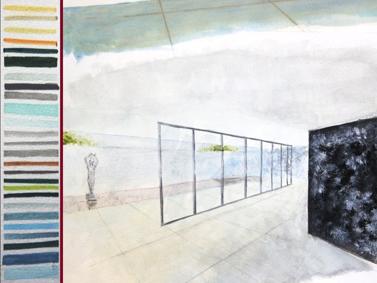 """Sketch #2 - """"Barcelona Pavilion"""" by Mies van der Rohe - Acrylic paint on paper"""