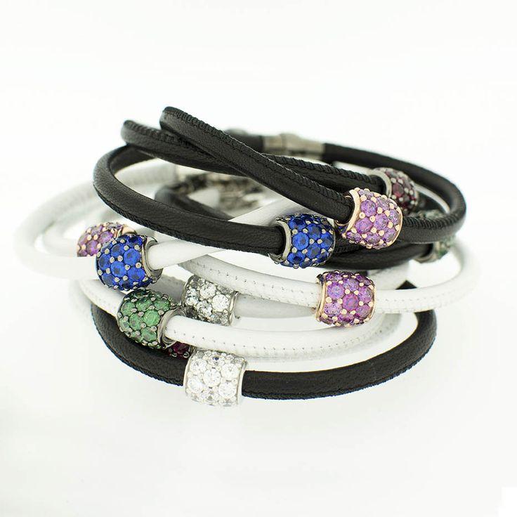 Bracciali in pelle  Leather bracelets  made with SWAROVSKI ZIRCONIA #swarovski  www.blooblood.com
