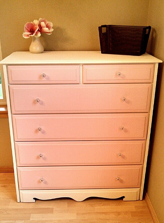 Baby girl or little girls dresser. White and pink with glass knobs <3