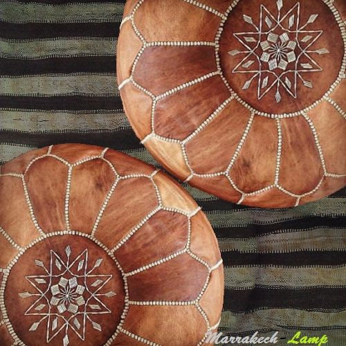 Real Leather Light and dark Tan morrocan pouf round leather pouffe (14x20) when stuffed,ottoman Handmade Moroccan pouffe, with hand stitching. for