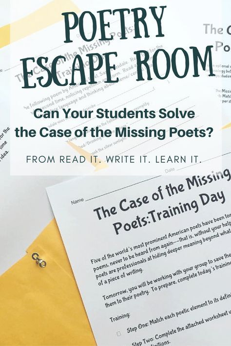 Can your students solve the case of the missing poets? This poetry breakout room for grades 6-10 makes the study of poetic devices engaging and hands-on. Students will use their knowledge of symbolism, rhyme scheme, repetition, figurative language, and metaphor to return five poets to the classic poems they wrote. Students will love working through the clues as they learn or review important poetic devices. For more engaging ELA ideas, visit www.readitwriteitlearnit.com