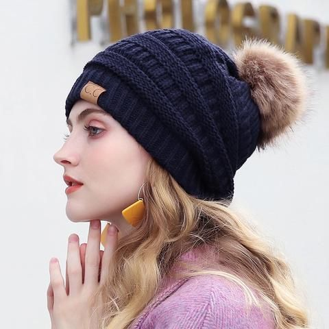 2018 CC Thick Warm Winter Hat For Women Soft Stretch Cable Knitted Pom Poms  Beanies Hats Women s Skullies Beanies Girl Ski Cap e259121418e