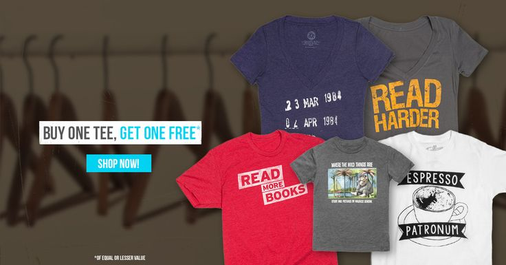 All tees are buy one, get one free in the Book Riot Store Wednesday, May 20 and Thursday, May 21. Snap a pair up!