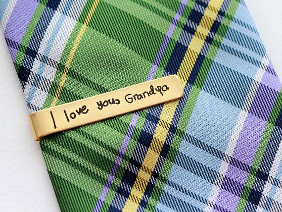 Engraved Handwriting Tie Clip - Custom Engraved Tie Bar Personalized Gift for Men Custom Tie Bar Engraved Tie Clip Handwriting Engraved Gift