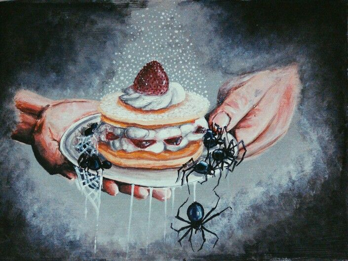 """Oh my darlings come have a taste"" #pancakes #spider #illusonary"