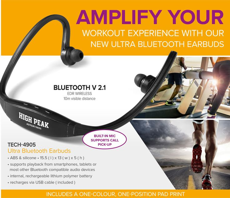 Whether you're at the gym or hitting the tracks, our Ultra Bluetooth Earbuds will amplify your workout experience.  Featuring a built-in mic that allows you to pick up calls, these earbuds also support playback from smartphones, tablets or most other Bluetooth compatible audio devices and include an internal, rechargeable lithium polymer battery.  To give your brand a boost, receive a one-colour, one-position pad print with each unit ordered. Branding setup cost applies. BEST BRANDING