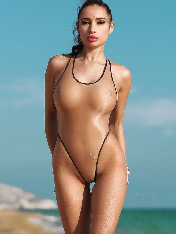 afe5027251 Erotic Transparent One Piece Swimsuit Bodysuit Bathing Suit Monokini Swimwear  Hot Thong High Cut Leg